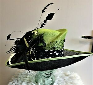 Green & Black Wide Brim Hat with feathers Wedding, Mother of the Bride, Races