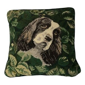 Vintage Needlepoint Accent Pillow Retriever Spaniel Dog
