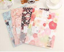 Lot 4 Set A4 size Japanese flower Floral Paper Stationery Letter Envelope Cute