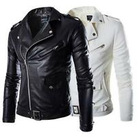 Fashion Men Classic Punk PU Leather Biker Jacket Motorcycle Slim Coat Tops M-3XL