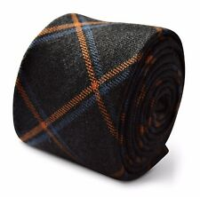 Frederick Thomas mens wool tweed tie in grey with orange and blue check FT3377