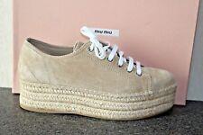 NIB MIU MIU TAUPE SUEDE PLATFORM WEDGE ESPARDRILLES LACE UP OXFORDS Shoes 39.5