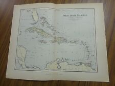 Nice color map of the West India Islands.  Printed 1892 by Chambers.