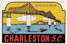 Charleston, SC   South Carolina   Vintage-1950's  Style  Travel Sticker/Decal