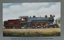 OLD PRINT STEAM TRAIN CANADIAN PACIFIC EXPRESS ENGINE by MOORE c1905 RAILWAY