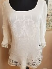 Brixon Ivy large L Diaz ivory Crochet Blouse; rayon; made USA; Stich Fix