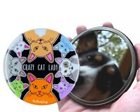 Crazy Cat Lady Cartoon Art Pocket Mirror Purse Funny Kitty Accessories and Gifts