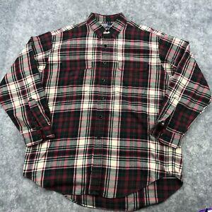 Ralph Lauren Flannel Shirt Mens Large Red Plaid Long Sleeve Button Up Whitfield
