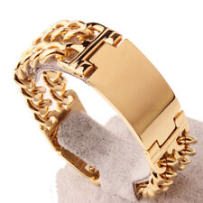 Curb Link Bracelet Bangle Cuff Gift Heavy Polished Gold Tone Stainless Steel Men