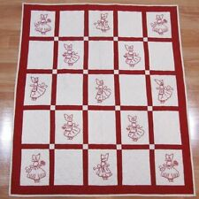 Darling 1930s Sue Bonnet Christmas RED WORK Crib Quilt Baskets
