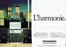 Publicité Advertising 028  1979  Schneider  (2p) hi-fi Chaine 1200 table lec