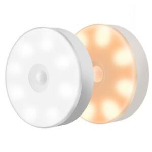 LED Night Light Lamp USB Rechargeable PIR Motion Sensor Intelligent Induction US