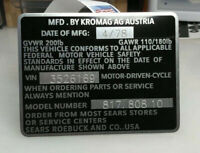 New Repop Sears Kromag Free Spirit Moped Data Plate Model Number Plate Tag