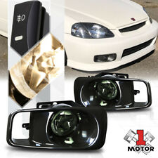 Smoke Tinted Fog Light Bumper Lamps w/Switch+Harness+Bezel for 99-00 Honda Civic