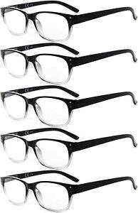 Eyekepper Glasses - FIVE Pack Black-Clear Frame Glasses for Women Men 4.0