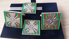 Croix De Guerre Cufflink / Tie slide/ lapel pin set, D+D Rifles, AMF, 5 BTY RA,