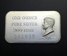 John F. Kennedy 1 Troy oz .999 Fine Silver Bar Numbered #001039 (BR20)