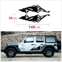 Pair Black Snow Mountain Graphics Car Side Skirt Decal Sticker For Jeep Wrangler