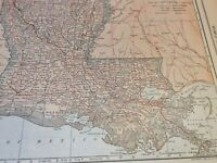 1908 Louisiana & Maine Maps, Named Railroads, Counties, Rivers, Towns & more