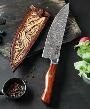 high end Japanese VG10 Damascus Steel Chef Knife Kitchen Knife Wood with Sheath