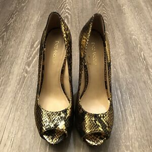 "Enzo Angiolini Gold Snake Print Platform Leather 6"" High Heels Size 8.5"
