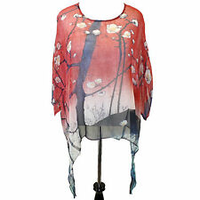 NEW NWT Cocoon House 100 Views of Edo Sheer 100% Silk Pointed Blouse Large / XL
