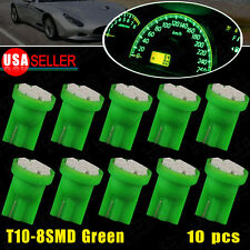 10 X Vivid Green Wedge LED light Bulbs T10 8-SMD Instrument Cluster Light W5W US