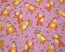 """32"""" X 34"""" Cute Orange Gorillas on Pink Flannel Fabric craft quilt Prewashed"""