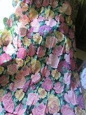 "New listing Gold & Pink Cabbage Roses Black Vintage Curtains Panels Pair, Tiebacks, 84""L"