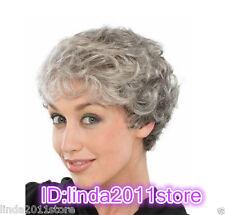 Ladies mixture Grey Curly Granny Grandma full Wigs Fancy Dress Old Lady+wig cap