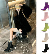 Elegant Round Toe Side Zipper Women Boots Stiletto Rhinestone Faux Suede Booties