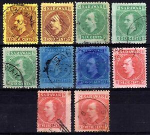 SARAWAK 1875 SIR CHARLES BROOKE USED SELECTION, 10 STAMPS, SG 3-7 GROUP