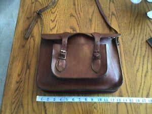 Vintage thick leather school satchel