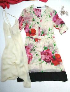 Strenesse,Gabriele Strehle,Kleid,Seide,Unterkleid,Blumen,creme,rot,grün,38,nw