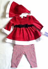 Christmas Mrs Claus Red Santa Suit Baby Size 3-6 Months 3 Pc Velour Set Cherokee