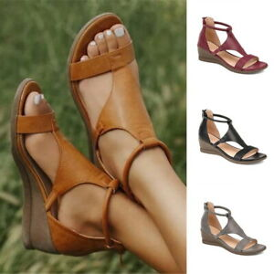 Women's Leather Strap Buckle Heels Sandals Summer Dress Party Wedge Beach Shoes#