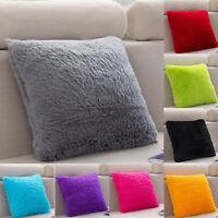Fluffy Square Plush Pillow Cases Sofa Throw Cushion Cover Soft Living Room Decor