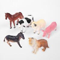 6* Farm Animals Plastic Figures Sheep Cow Horse Dog Pig Model Playset Toys 8*5cm