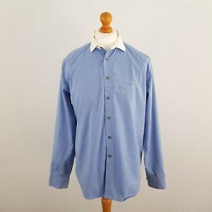 "Calvin Klein Mens Blue & White Stripe Long Sleeve Slim Fit Formal Shirt Size 15"""
