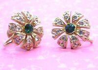 Vintage Earrings Signed Lustern Rhinestone Flowers Green Gold Tone Screw