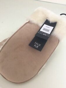 Vintage Beige BHS Mittens Gloves Suede Faux Fur Small New with tags sheepskin