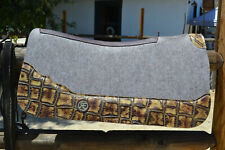 "*Reinsman Perf Felt Saddle Pad-30 x 3/4"" Full Length Golden Croc Print Leathers"