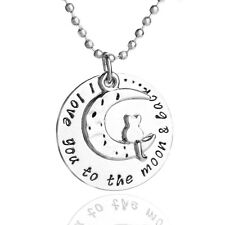 *UK* 925 SILVER PLT 'I LOVE YOU TO THE MOON AND BACK' CAT HALF ENGRAVED NECKLACE