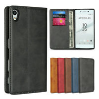 For Sony Xperia Z5 Luxury Magnetic Leather Wallet Flip Case Cover Protective