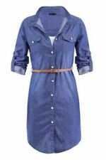 Long Sleeve 100% Cotton Dresses for Women with Belt