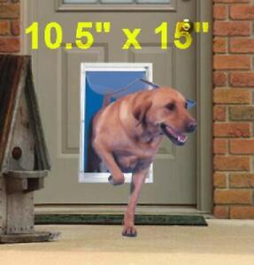 NEW Extra Large Pet Door Aluminum Frame for Dog Cat Door With Telescoping White