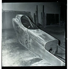 Front Engine Dragster Being Built - Vintage B&W Drag Racing Negative