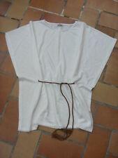 top pull tunique Pimkie loose ceinture western taille S blanc cassé irisé