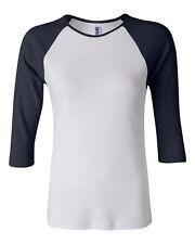 New Bella Women's Ladies Raglan 3/4 Sleeve Slim Fit T-Shirt Baseball Tee