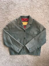 Timberland Men's Green Button Up Leather Jacket SZ L